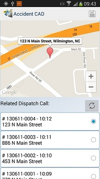 Mobile screen view of public safety mobile CAD software